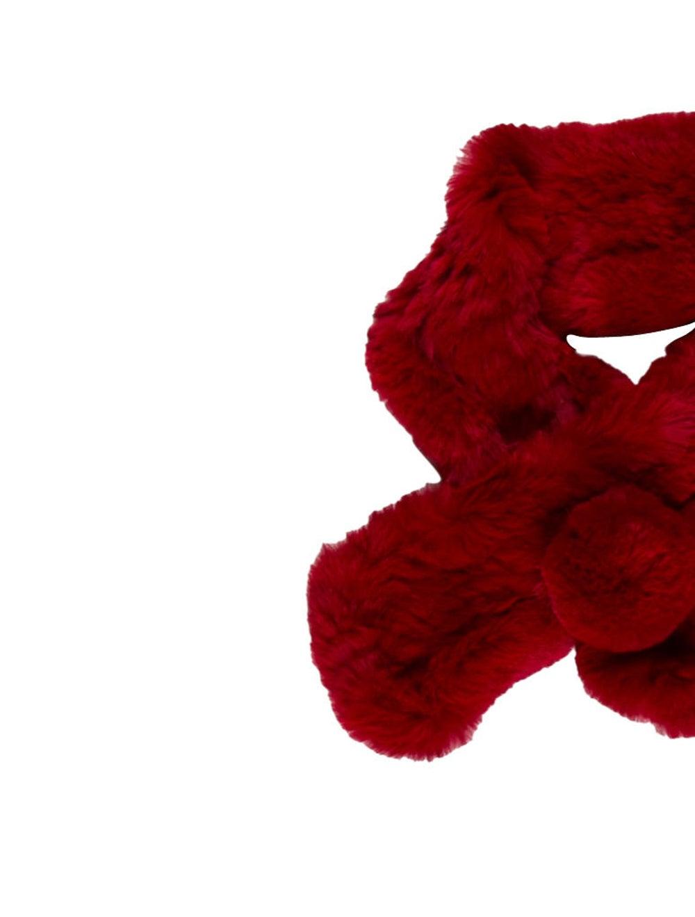 Fur Rabbit Fur Stole Red - image 3