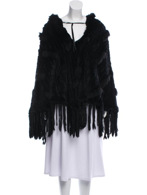 Knitted Fur Poncho Black