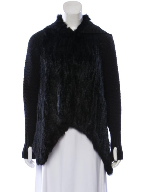 Fur Knit Cardigan Black