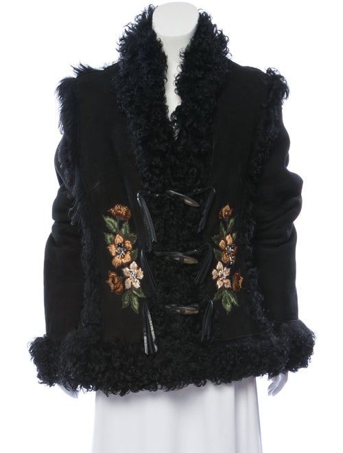 Embroidered Shearling Jacket Black