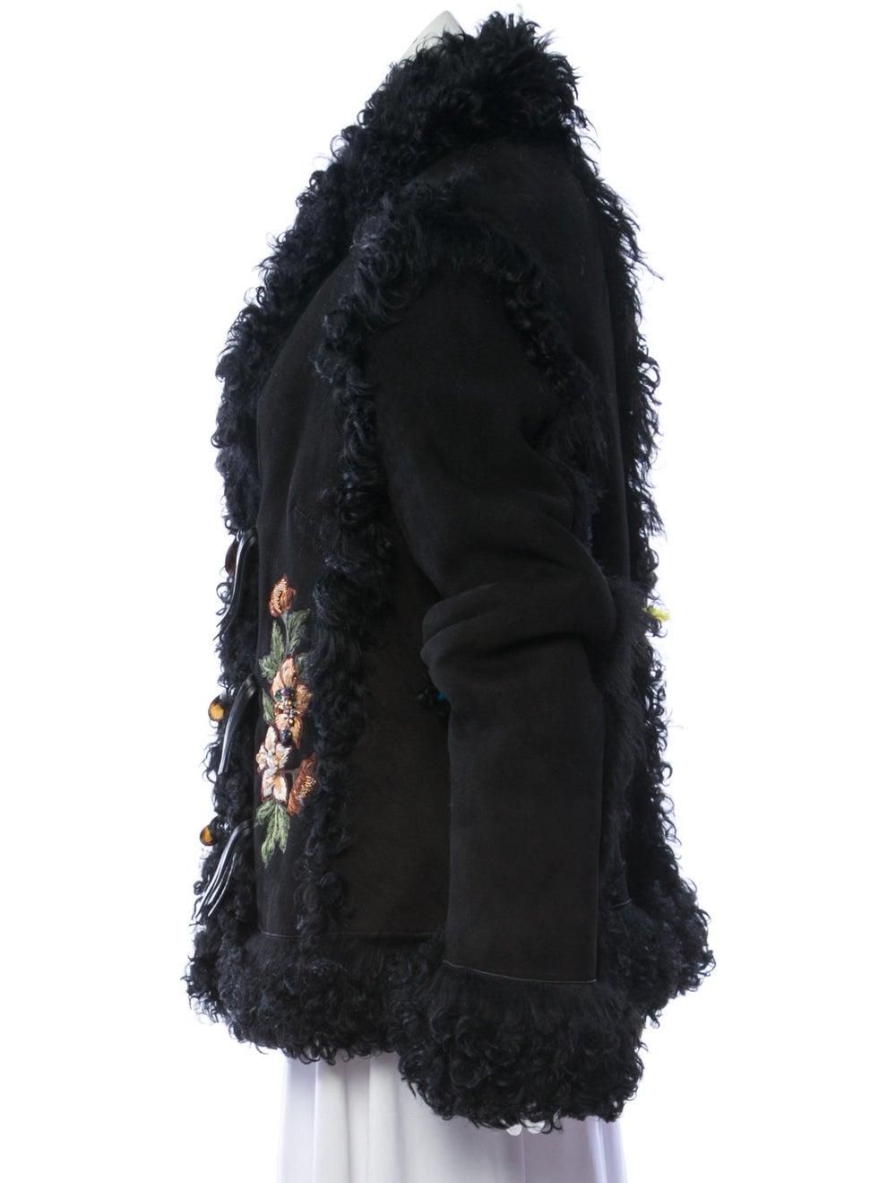 Embroidered Shearling Jacket Black - image 2