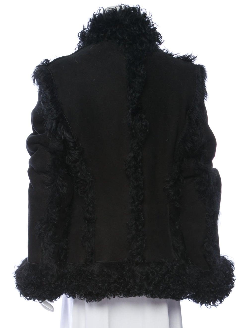 Embroidered Shearling Jacket Black - image 3