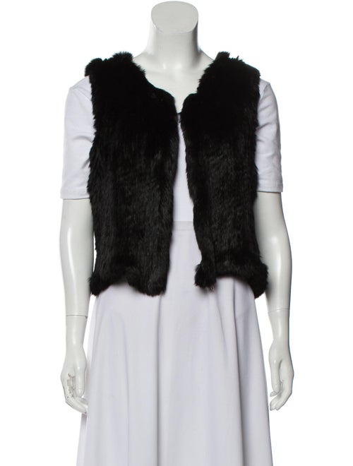 Knit Fur Vest Black