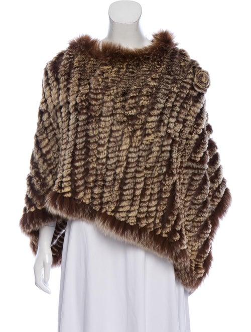 Fur Knitted Rabbit Fur Poncho Brown