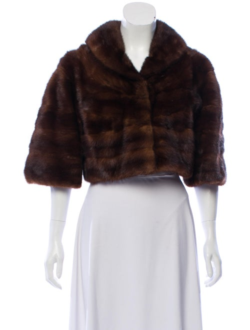 Fur Mink Shawl Collar Bolero Brown