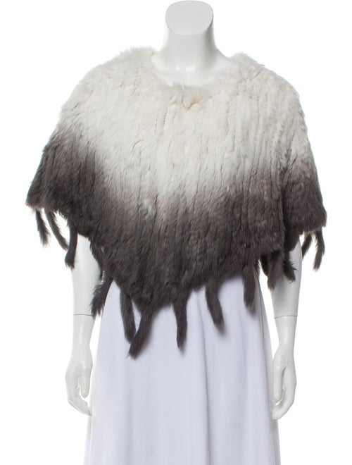 Knitted Fur Poncho White