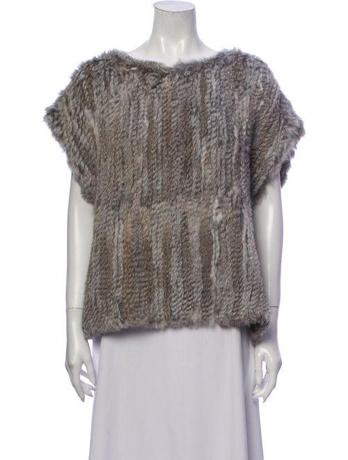 Fur Bateau Neckline Short Sleeve Sweatshirt