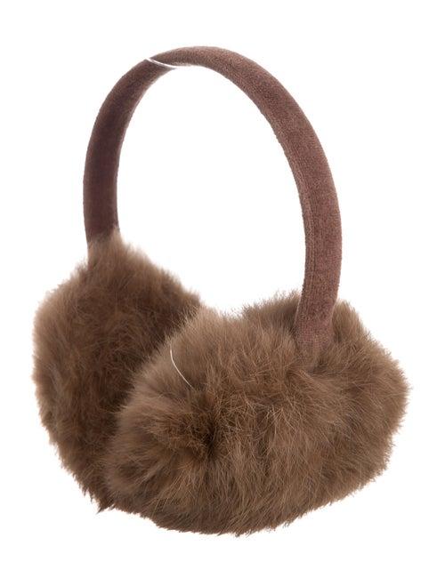 Fur Fur-Trimmed Woven Earmuffs Brown