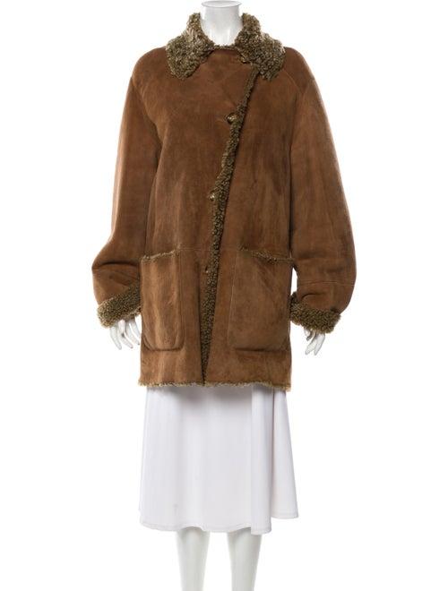 Fur Shearling Fur Coat Brown