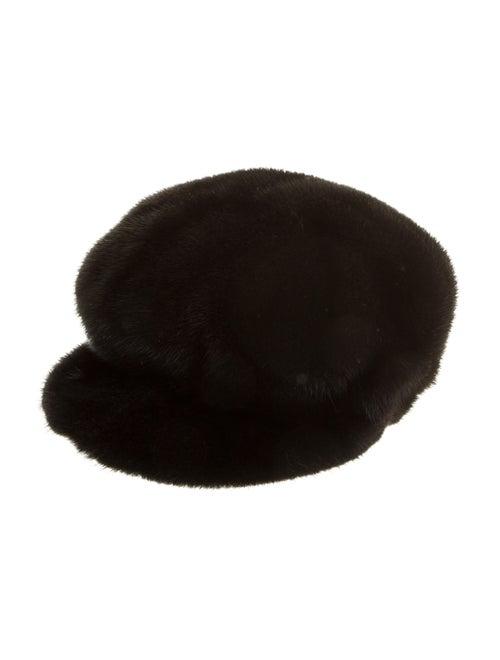 Fur Mink Newsboy Hat Black