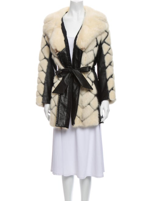 Fur Colorblock Pattern Faux Fur Coat