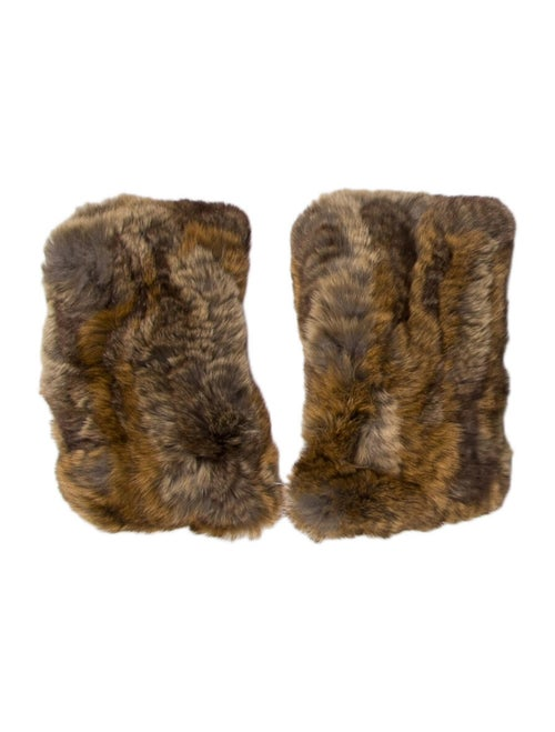 Rabbit Fur Fingerless Gloves w/ Tags Brown