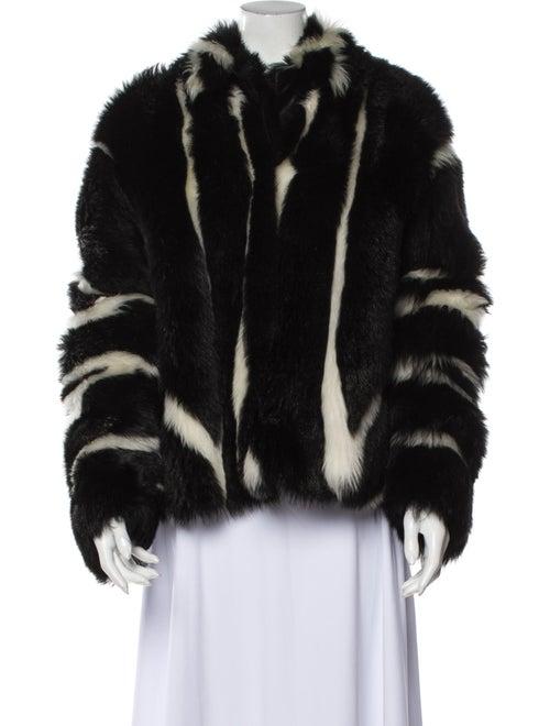 Fur Striped Faux Fur Jacket Black