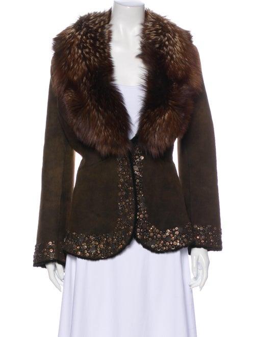 Fur Shearling Jacket Brown