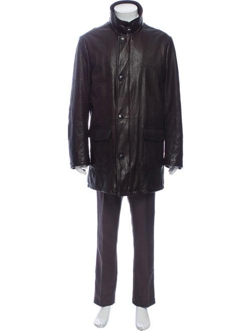 Fur Leather Coat Brown