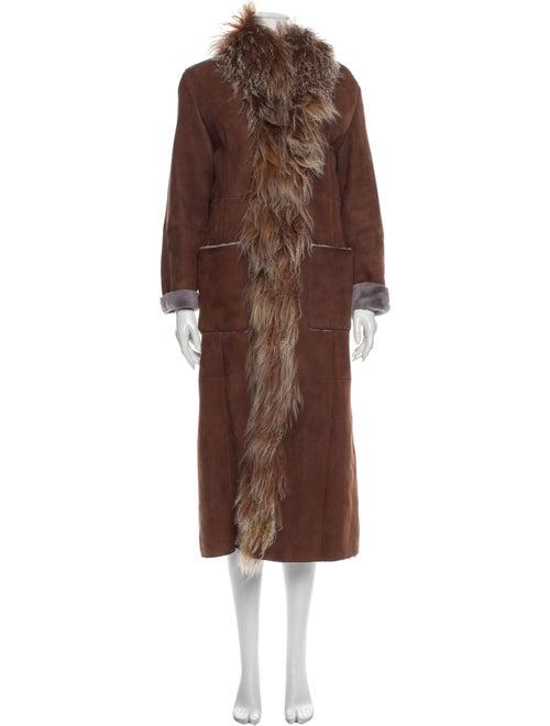 Fur Shearling Coat Brown