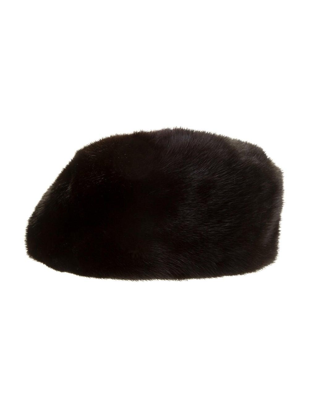 Fur Mink Fur Beret Black - image 1