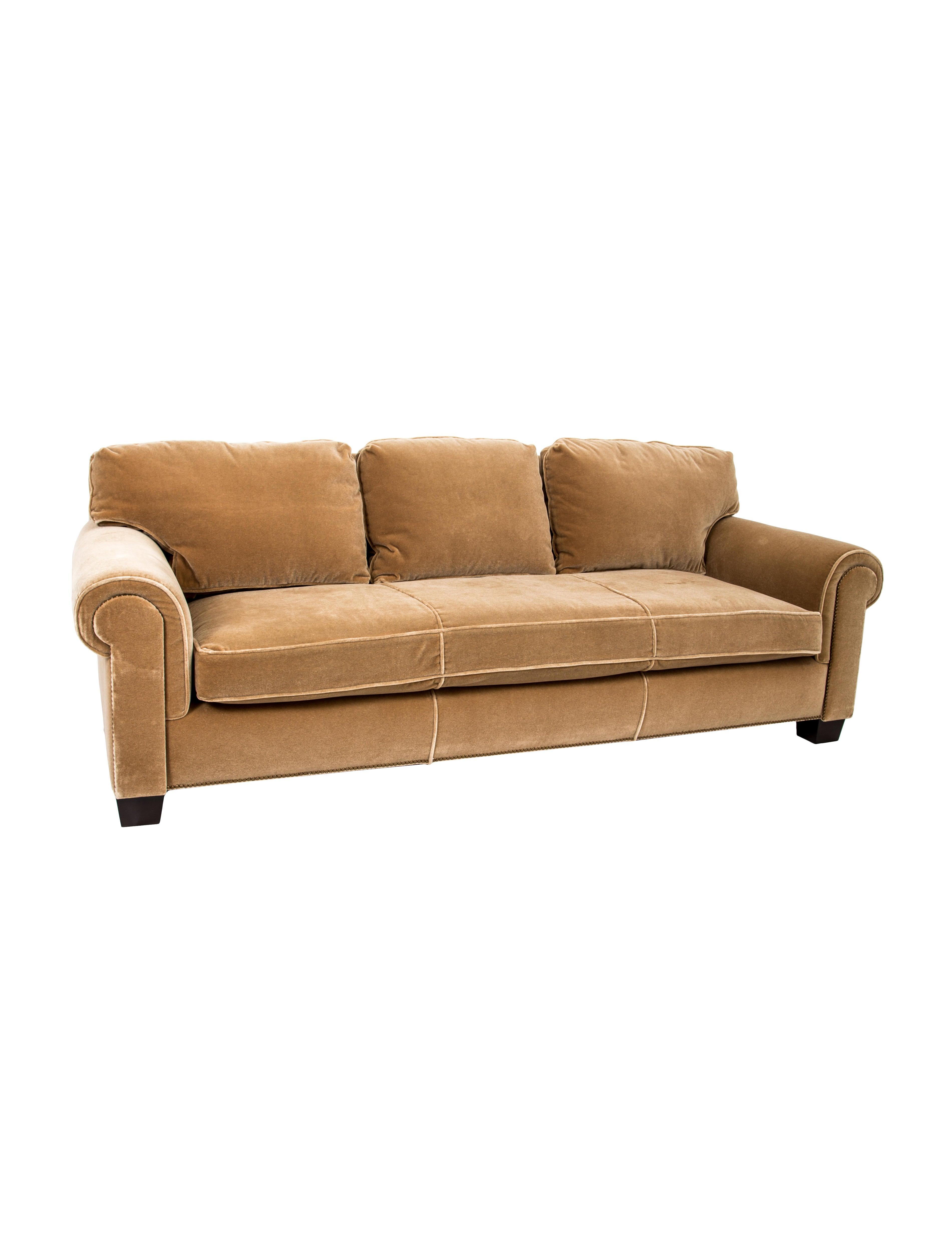Superb A. Rudin Velvet Three Seat Sofa