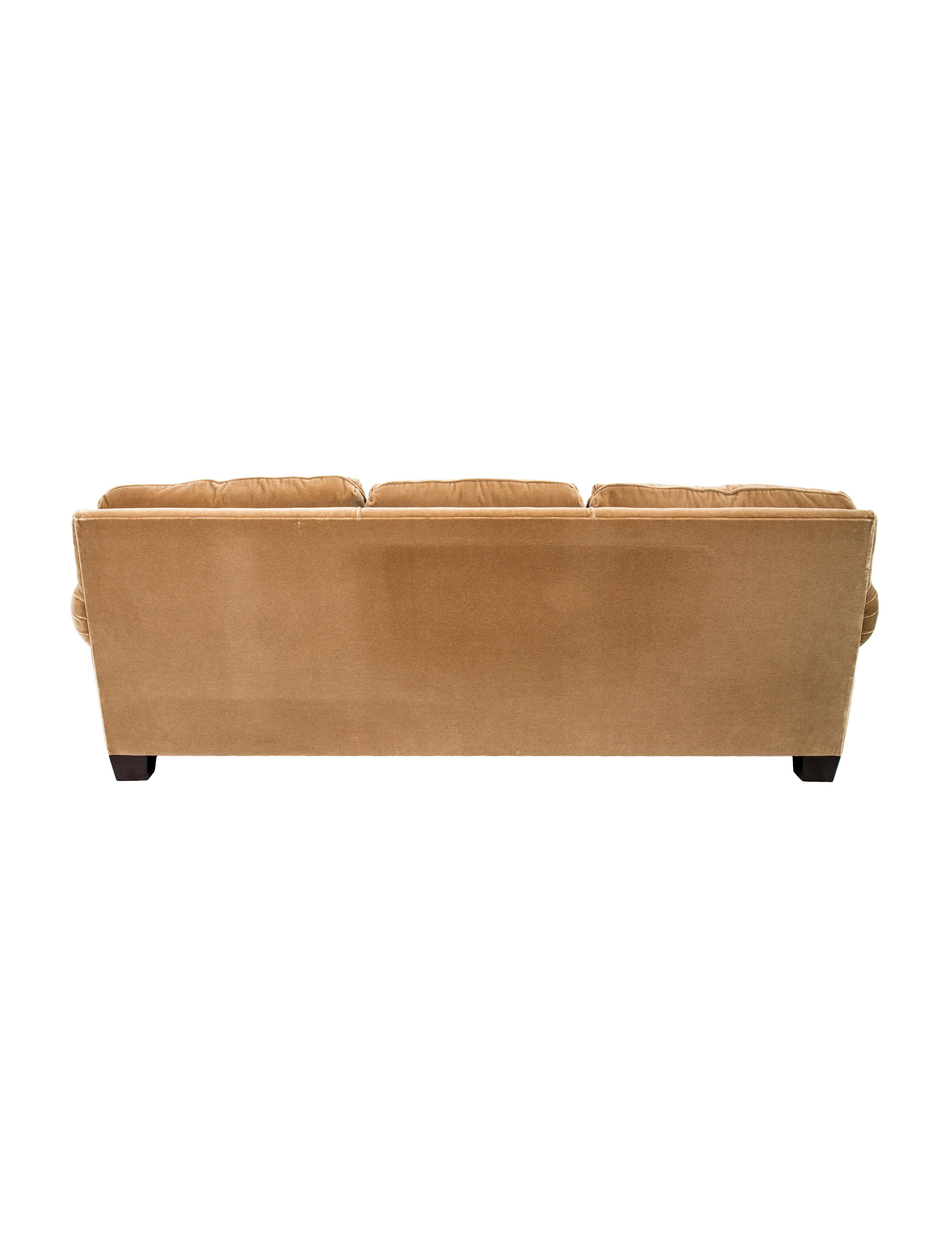 A. Rudin Velvet Three Seat Sofa
