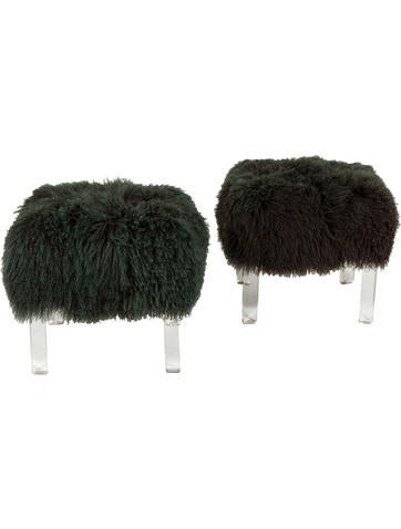 Furniture Pair of Mongolian Fur Benches