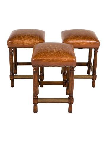 Set Of Three Distressed Leather Stools Furniture