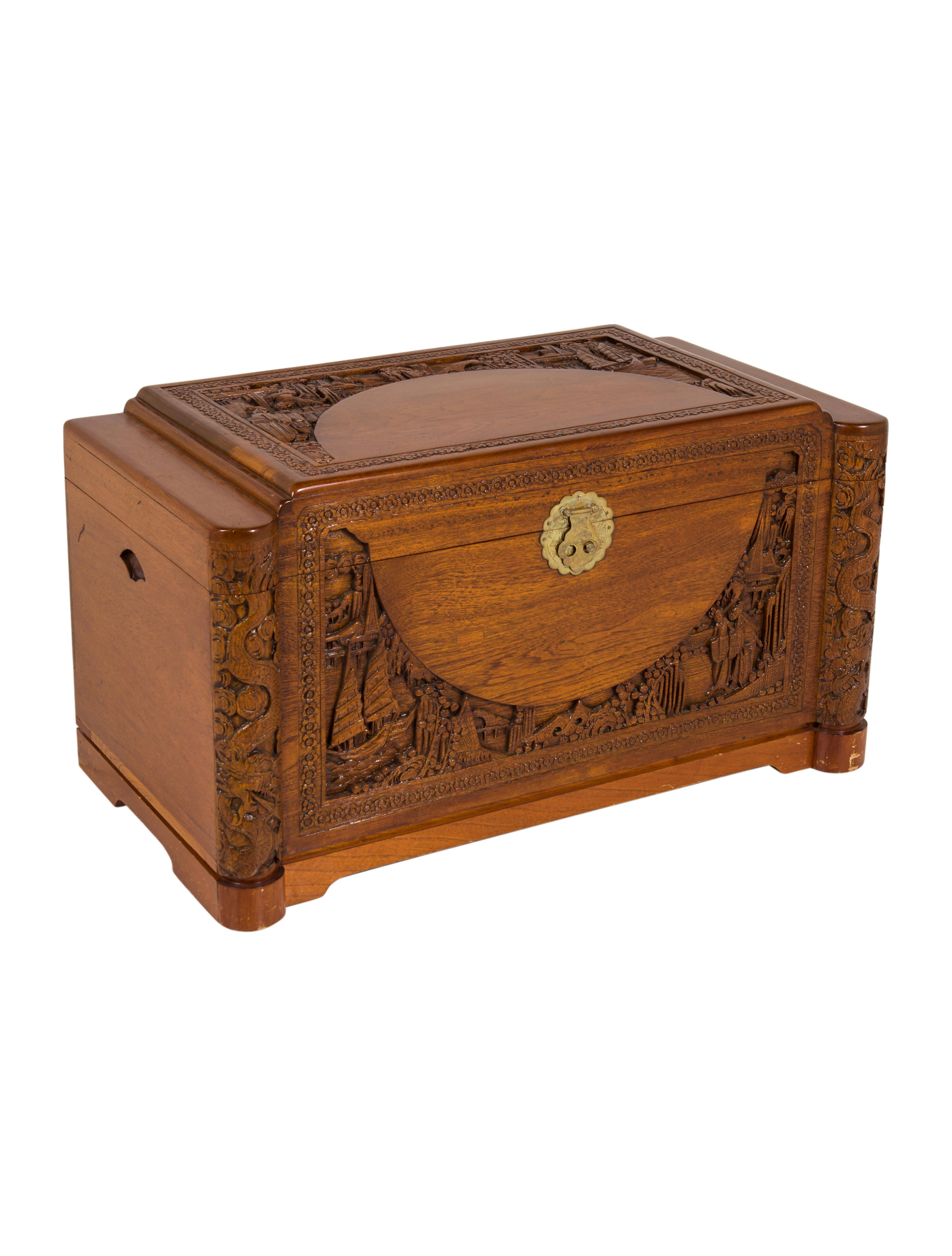 Carved wood chest furniture furni the realreal