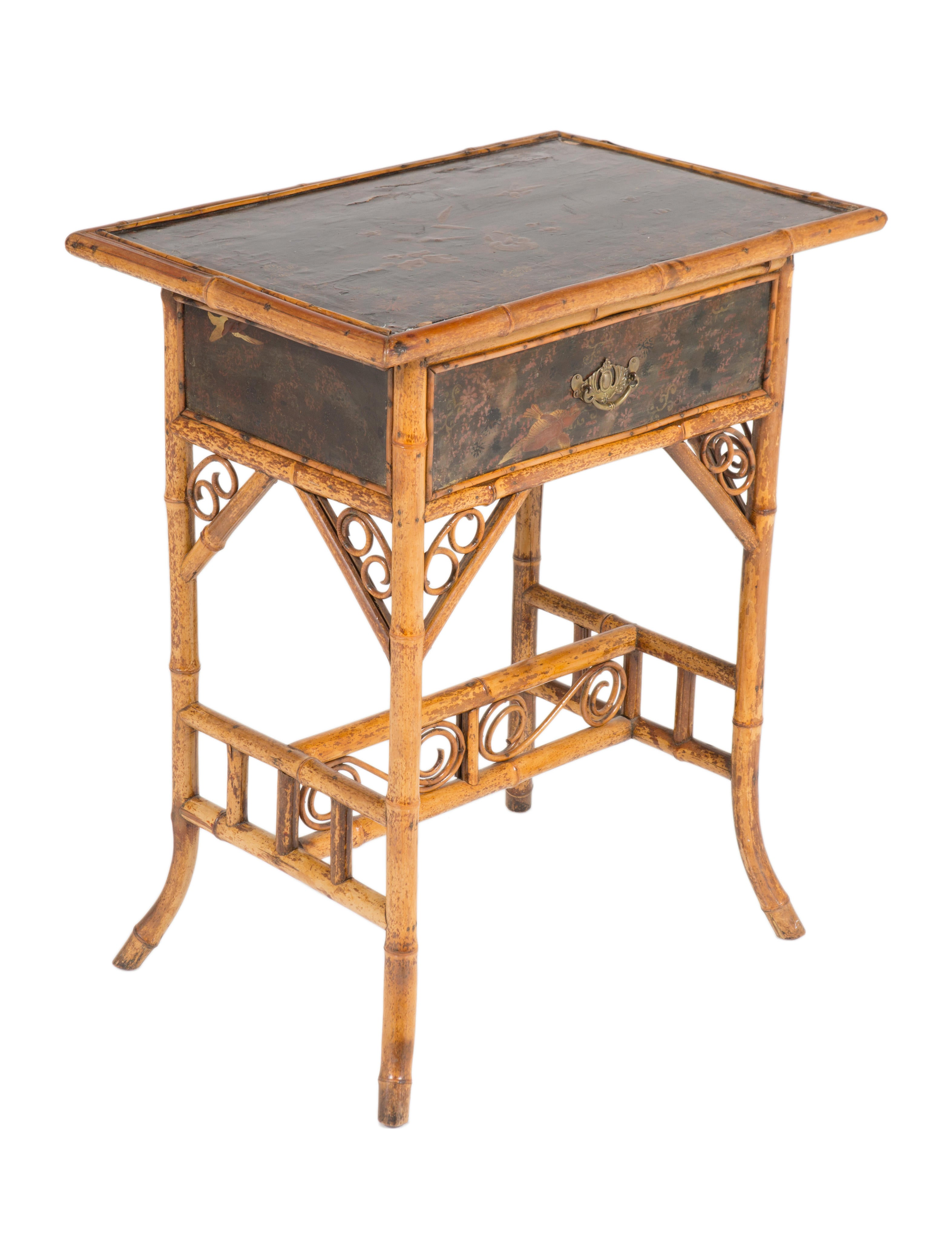 English bamboo chinoiserie side table furniture for Bamboo side table