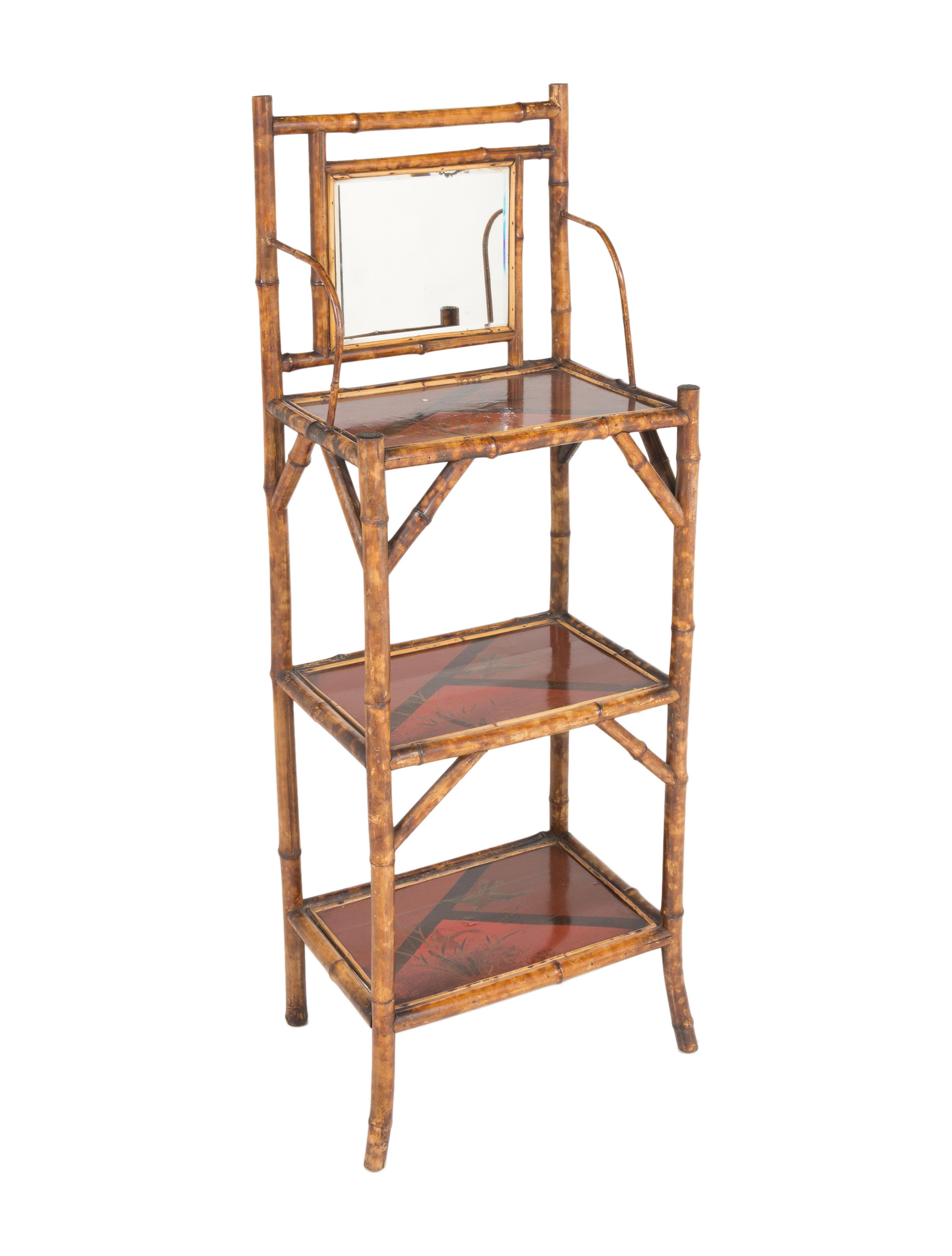 English bamboo chinoiserie etagere w mirror furniture for Miroir etagere