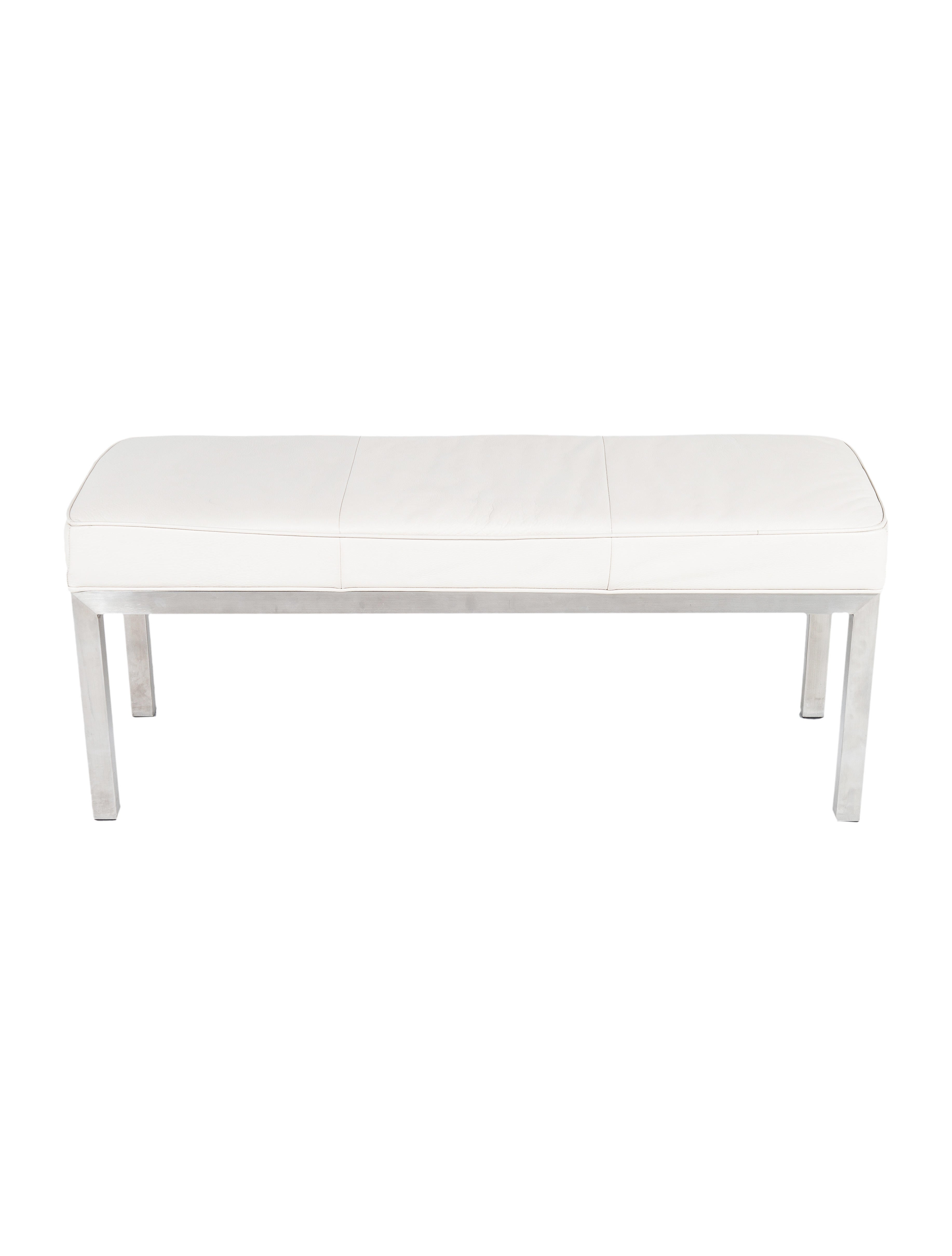 White Leather Bench Furniture Furni20500 The Realreal
