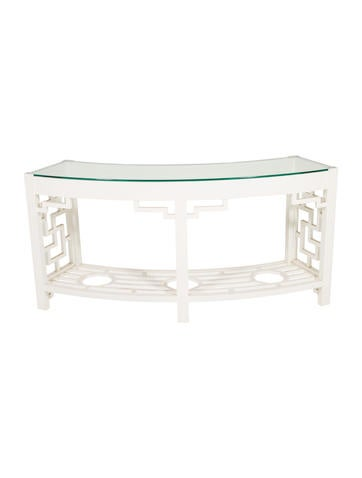 Product Name:Dorothy Draper For Kindel Curved Lattice Console W/ Glass Top