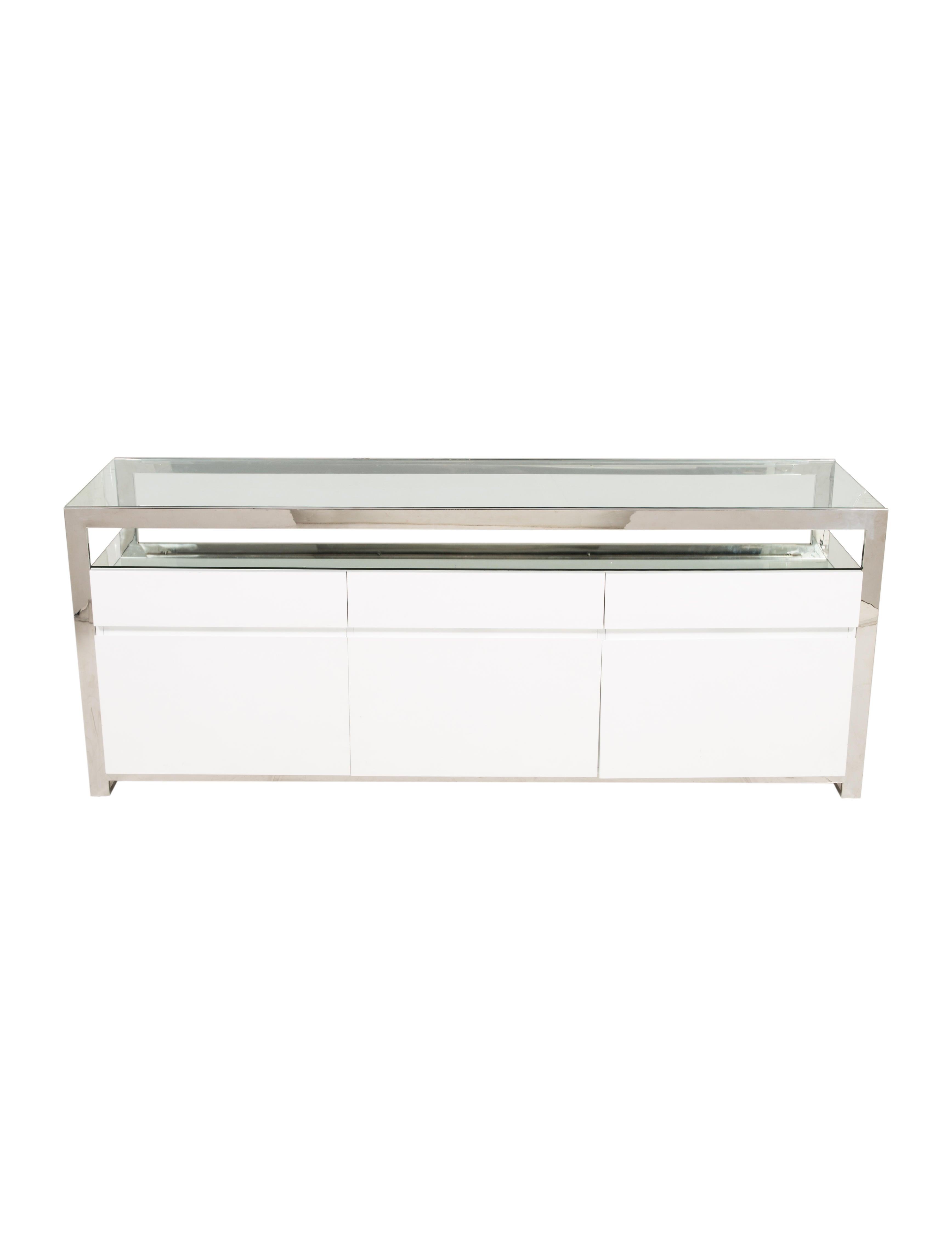 White Lacquer Console W Glass Top Furniture Furni20605 The Realreal