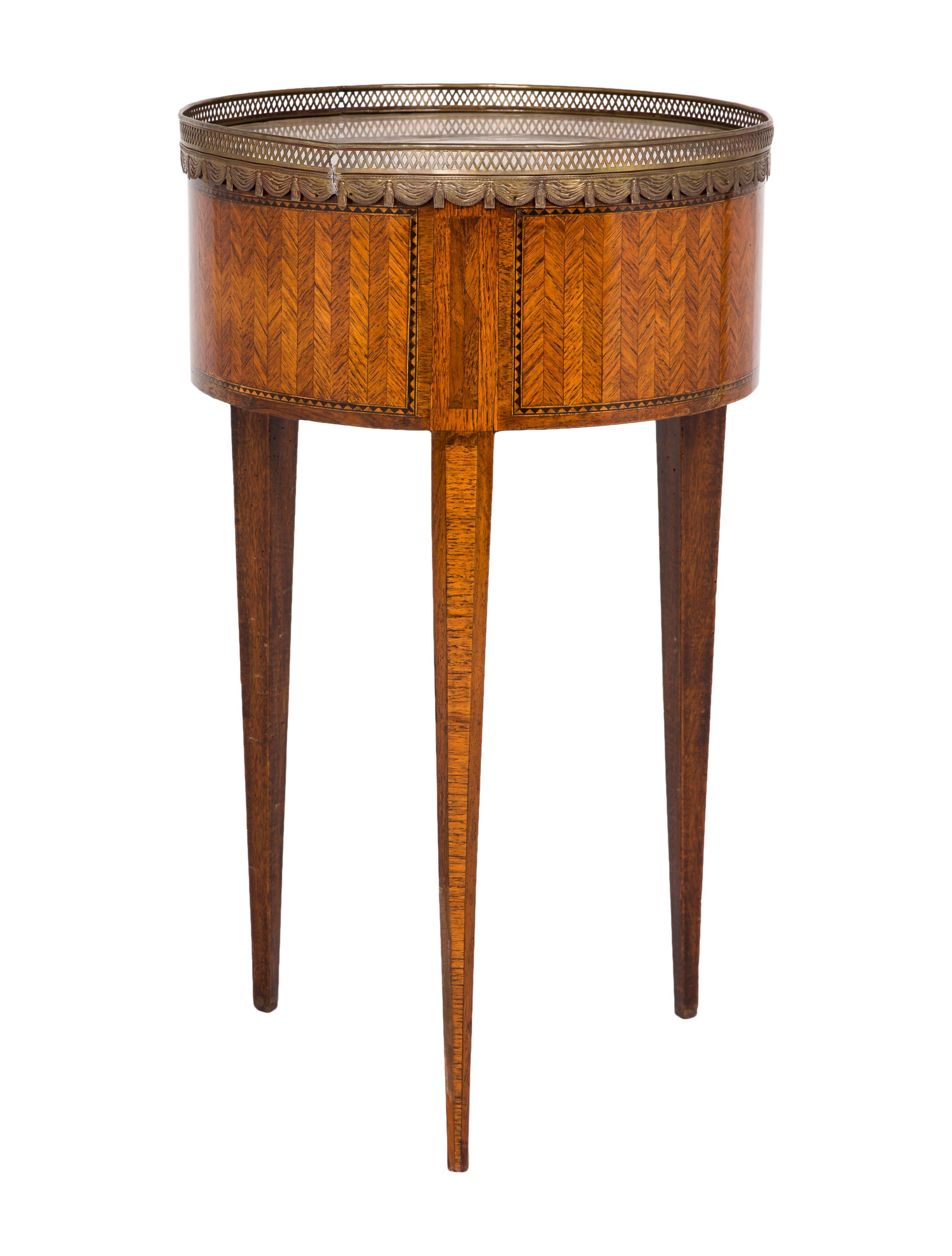 Inlaid Wood U0026 Stone Side Table