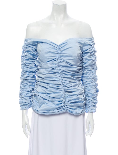 Georgia Alice Printed Off-The-Shoulder Blouse Blue