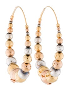 Gas Bijoux Multiperla Tricolor Graduated Ball Hoop Earrings