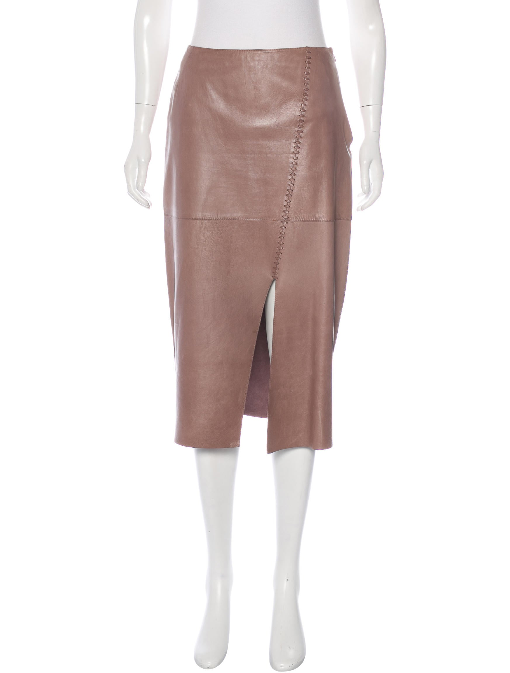 genny leather knee length skirt clothing gen20113