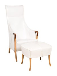 Pleasant Giorgetti 2 Piece Leather Chair And Ottoman Set Furniture Bralicious Painted Fabric Chair Ideas Braliciousco