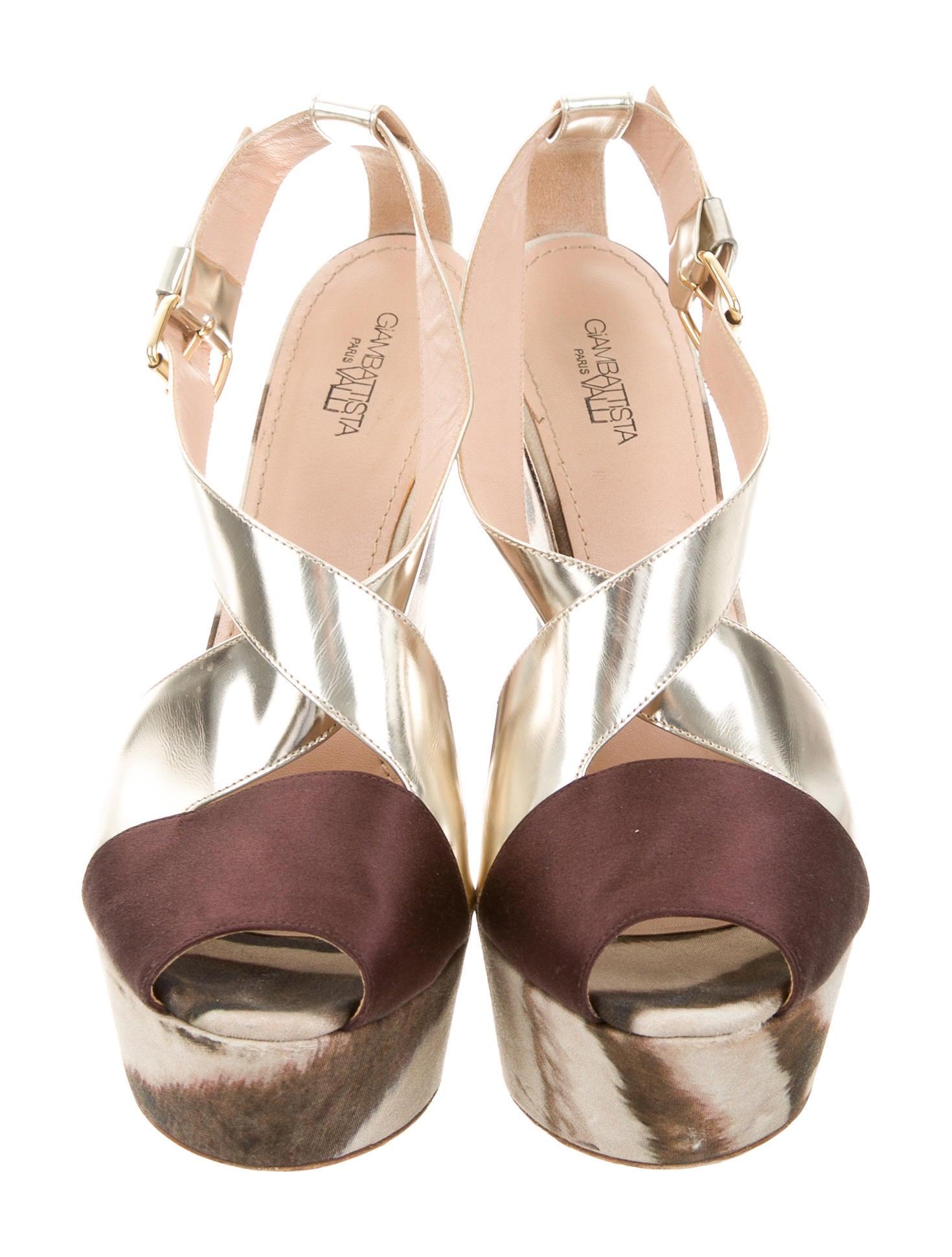 giambattista valli satin wedge sandals shoes gia24032