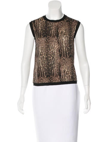 Giambattista Valli Wool Leopard Print Top None