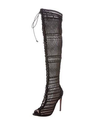 Embroidered Thigh-High Boots