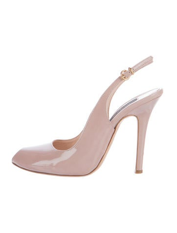 Giambattista Valli Patent Leather Peep-Toe Pumps None