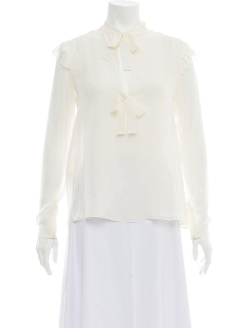 Giambattista Valli Silk Tie Neck Blouse White