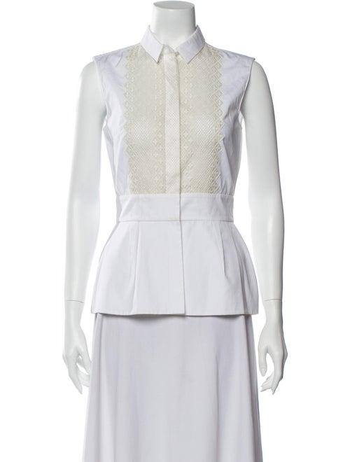 Giambattista Valli Sleeveless Button-Up Top White