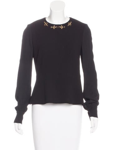 Giles Stud-Embellished Wool Top None