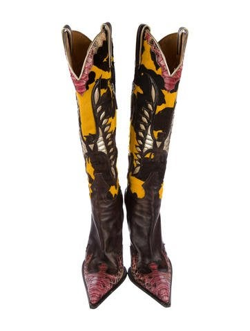 Python-Trimmed Knee-High Boots