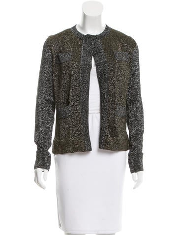Gianfranco Ferre Knit Metallic-Accented Cardigan None