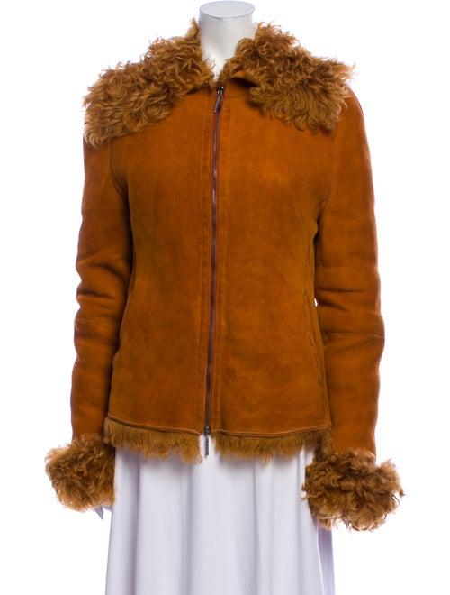 Gianfranco Ferre Leather Fur Jacket Orange