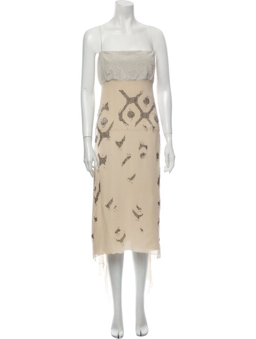 Gianfranco Ferre Printed Midi Length Dress Metalli