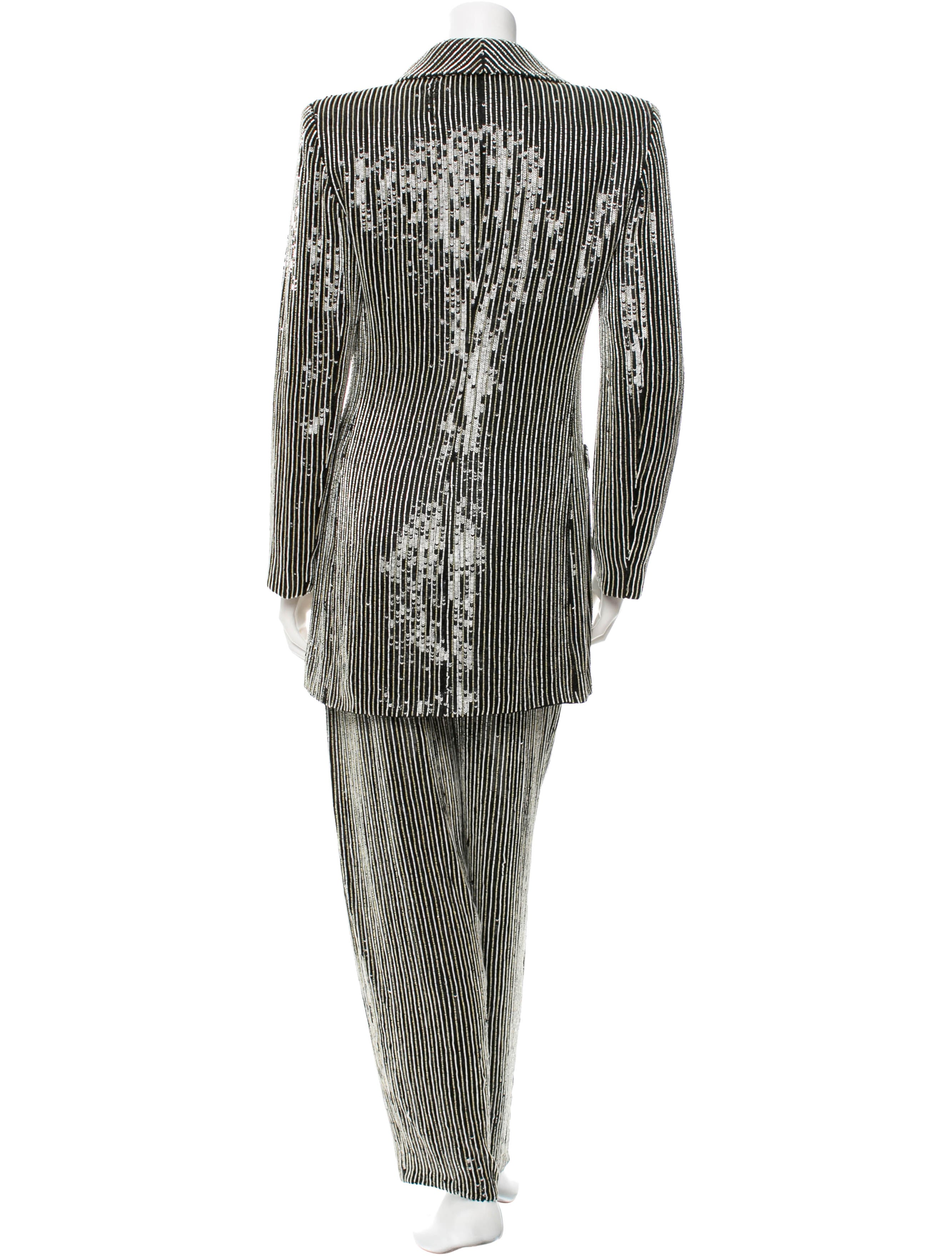 Giorgio Armani Sequined Amp Beaded Accent Pant Suit
