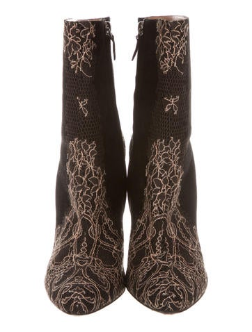 Lace-Embellished Ankle Boots