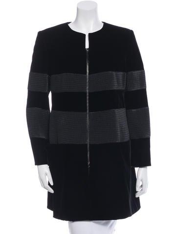 Giorgio Armani Velvet Knee-Length Coat